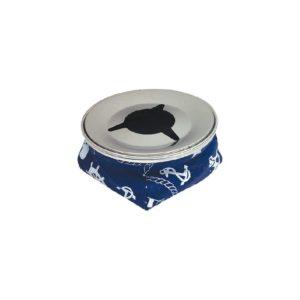 Cinzeiro em inox, com tecido motivo náutico